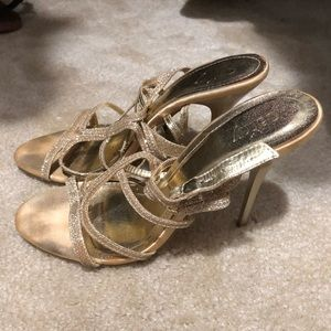 Cathy Jean gold strappy heels